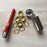 Öseneinschlagset - 50 Stück 2-teilige Ovalösen Messing 17x11mm + passendes Werkzeug