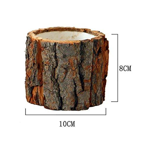Evenlyao Holz Blumentopf Mit Rinde, Desktop Wald Stil Naturholz Pflanzer Box Dekorative Handgefertigte Rustikale Blumentopf Container