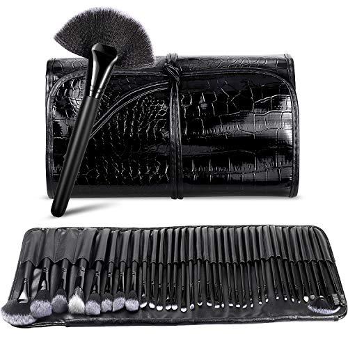 BESTOPE Make up Pinsel Set 34 Stück mit Leder Tasche Pinselset Kosmetik Professionelles...
