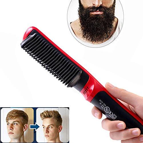Peine alisador de barba portátil, Cepillo alisador iónico eléctrico mojado y seco 2 en 1, Cepillo antiescarcha Quick Styler con calentador de cerámica para todo tipo de cabello, rojo (EU)