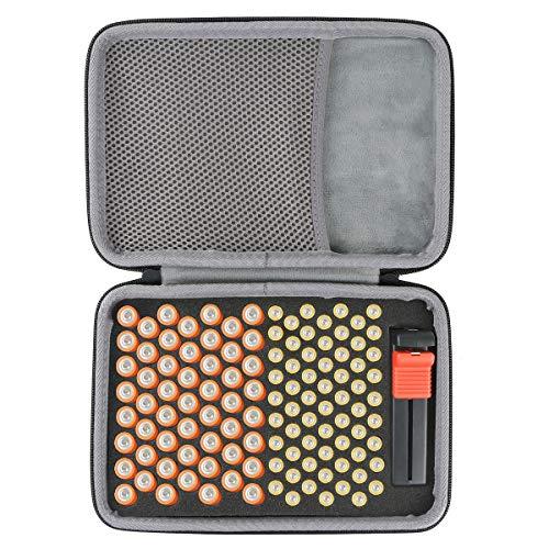 co2CREA Batterie Aufbewahrungsbox Tragetasche Batteriebox - Hält 143 Batterien AA AAA C D 9V - Passend für Tacklife MBT01 Batterietester Akkutester Batterieprüfergerät (S_Holds,Ohne Tester)