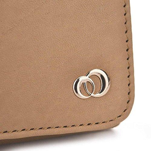 Kroo Pochette en cuir véritable téléphone portable Housse pour Oppo Find 7 Gris - Gris Marron - marron