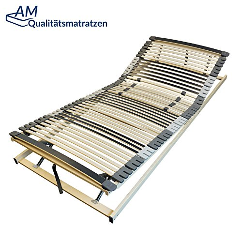 AM Qualitätsmatratzen Ergonomischer 7-Zonen Lattenrost - 90x200 cm - fertig montiert - 44 Leisten - Kopf- und Fußteil Verstellbar - Holmabsenkung für Schulter und Becken - 90x200cm