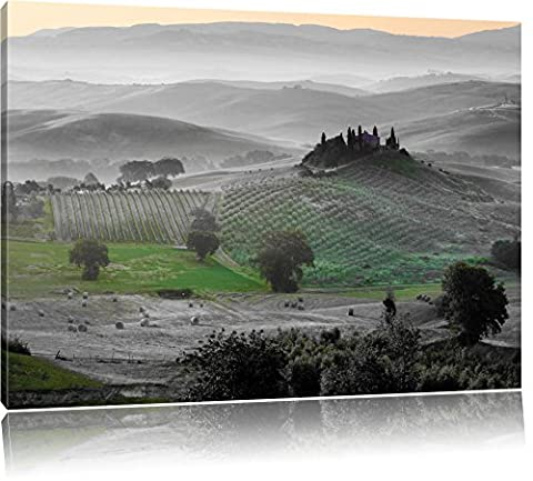 magnificent Tuscan landscape black / white format: 120x80auf canvas XXL huge Pictures completely framed with stretcher, art print on mural with frame, cheaper than painting or oil painting, no poster or poster