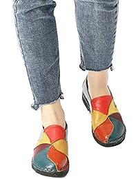 Socofy Mocasín de Mujer, Mocasín Slip-on Casual de Cuero de Mujer Zapatos Planos