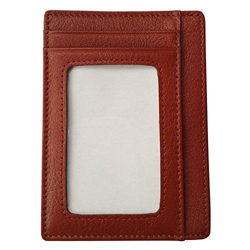 Slim Genuine Leder Wallet für Vorder-Tasche (Kastanienbraun) Braun Kastanienbraun Kastanienbraun