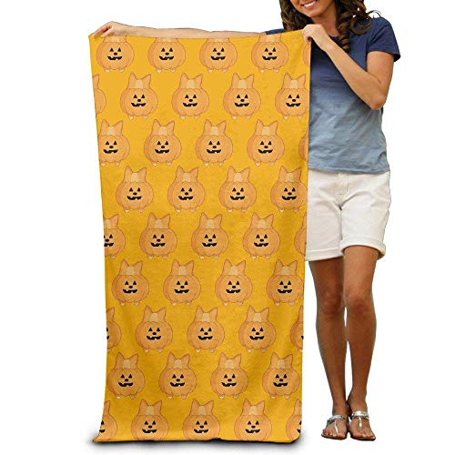 h, Soft, Quick Dry, Halloween Kawaii Corgi Pumpkin Adults Beach Towel 31 X 51-Inch ()