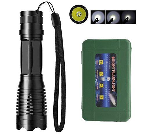 Preisvergleich Produktbild wiederaufladbare fokussierbar LED Taschenlampe taktische Taschenlampe, super hell, mit USB-Ladegerät und 18650 Li-Ionen-Akku