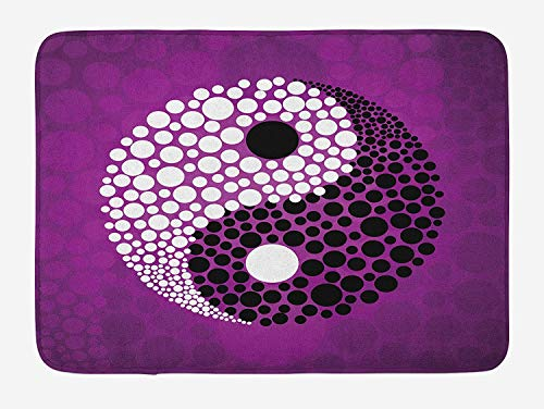 BABIQQ Ying Yang Bath Mat, Abstract Design Asian Harmony and Balance Symbol Religion Eastern Theme, Plush Bathroom Decor Mat with Non Slip Backing, 23.6 W X 15.7 W Inches, Purple Black White