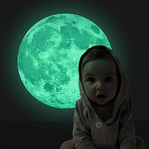 FESKIN 30cm Luna Adesivi da Parete fluorescenti e brillanti al buio + 26 Pezzi Stelle Decorazione da Parete – Casa Camera da Letto Soggiorno, Regalo di Feste Natale Compleanno per Bambini - 4