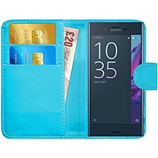 G-Shield Case for Sony Xperia XZ/XZs, Leather Wallet Cover with Card Slots, Light Blue