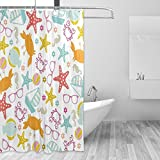COOSUN Under The Sea Print Duschvorhang, Polyester-Gewebe Duschvorhang, 66 x 72-inch 66x72 Mehrfarbig