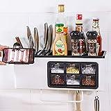 Klaxon Multifunction Kitchen Storage Rack - Spice Rack, Knife Block, Spoon Holder, Oil Container (White)