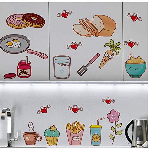 Hlonl Niedlich Kühlschrank Aufkleber Cartoon Spiegelei Donut Käse Kreative Küche Dekor Poster Grafik Schrank Tapete Aufkleber