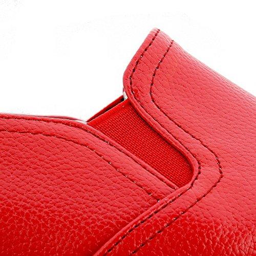 VogueZone009 Donna Tirare Tacco Basso Luccichio Colore Assortito Punta Tonda Ballerine Rosso