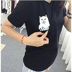 Aza Boutique – camiseta de estilo colegiala, con gato en el bolsillo enseñando el dedo del medio (tamaño: S-4XL), diseño disponible también para gorra y funda de iPhone