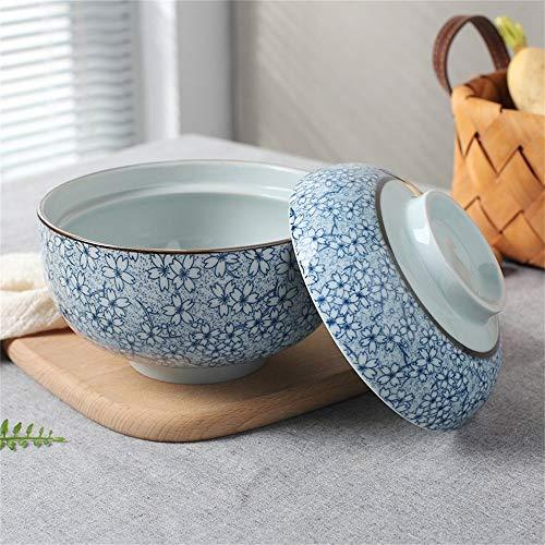 Suppenschüssel aus Keramik mit Deckel und Griff Instant-Nudelschüssel Obstsalat Reis Gedämpftes Ei Gedünstete Cubilose-Schale, die Servierschüssel Terrine Ofen Mikrowellenfest 6,5 Zoll (Farbe: A) Cate