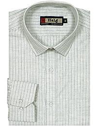 Helg Mens Formal Linen Stripes Full Sleeves Comfort Fit Shirt