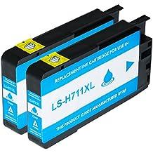 Logic-Seek - Cartucho de tinta para HP 711 XL, color (10) - 2x cian