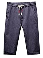 Fulok Mens Thin Linen Slim Elastic Waist Cuffed Knee Length Pants XXX-Large Dark blue