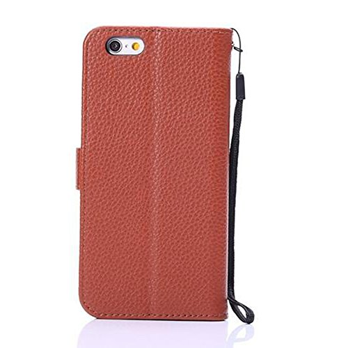 Hochwertige Litchi Texture Faux Ledertasche Cover Geldbörse Tasche mit Tragen Lanyard und Kickstand für iPhone 6 & 6s ( Color : Black ) Brown