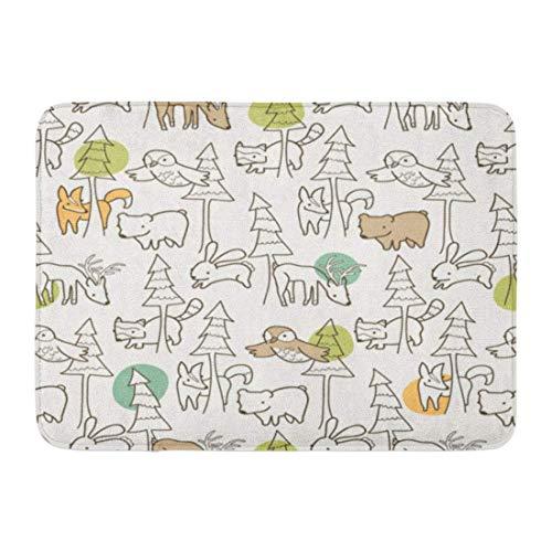 Rongpona Fußmatten Bad Teppiche Outdoor/Indoor Fußmatte Fox Woodland Kreaturen Muster niedlich skurrilen Hirsch Wald Baum Badezimmer Dekor Teppich Badematte