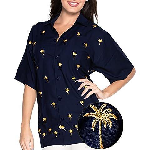 La Leela morbido rayon signore breve manicotto 4 in 1 Aloha Hawaii tema del partito annata soggiorno beachwear feste boho camicia donne camicia hawaiana ricamati tunica top blu navy