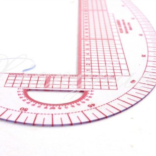 5Five - Regla de costura 3en 1, sistema métrico, curva francesa, regla graduada y medidas para sastrería y patrones - 2 unidades de plástico