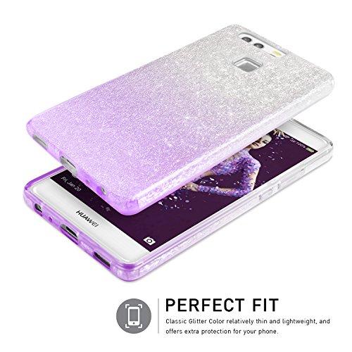 Huawei P9 Hülle, TheBlingZ.® Glitzer TPU Hybrid Schutzhülle Handyhülle Bumper Case - Rosa Purple Shading