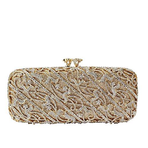 Frauen Abendbeutel Diamanten Kosmetiktasche Kupplung Handtasche Yellow