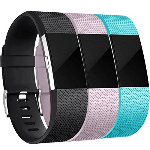 Für Fitbit Charge 2 Armband, HUMENN Charge 2 Armband Weiches Silikon Sports Ersetzerband Fitness Verstellbares Uhrenarmband für Fitbit Charge2 Small 3 Farbe-1