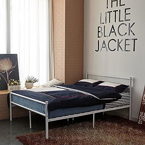 Aingoo Doble Diseño Cama del metal por 2 Estructura 190x135cm marco metálico negro