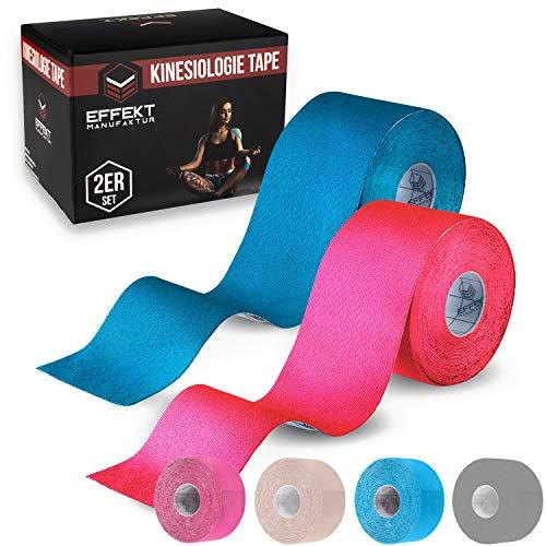 Effekt Manufaktur Kinesiologie Tape in verschiedenen Farben (5m x 5cm) - Kinesiotapes wasserfest und elastisch Sport - Physiotape Kinesiotape Set Sporttape - Tape Kinesio (Hellblau + Pink, 2er Set)