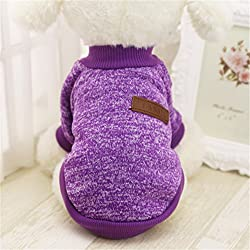 Interesting® Chaqueta de perro linda ropa de invierno Ropa de invierno Puppy Cat Sweater Clothing Coat Apparel (S púrpura)