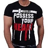 Rusty Neal 4305 Party Club Kurzarm Style Strass T-Shirt Größen S M L XL XXL, Größe:M, Farbe:Schwarz