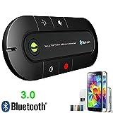 Rungao kit voiture Bluetooth sans fil, haut-parleur mains libres MP3Lecteur de musique pour iPhone Android Bluetooth Car Kit Noir