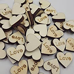 Magideal 50x Rustic Wooden Love Heart Wedding Embellishments Table Scatter Decoration