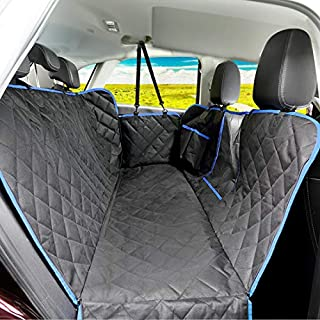 SUPSOO Dog Car Seat Cover Waterproof Durable Anti-Scratch Nonslip Back Seat Pet Protection Dog Road Trip Hammock with Mesh Window and Side Flaps for Cars/Trucks/SUV