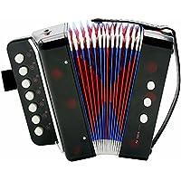 Fdit Socialme-EU Mini Acordeón para Bajo de 7 Teclas para Niños Instrumento Didáctico Juguete Rítmico Educación de Iluminación de Instrumentos Musicales(Negro)