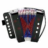 Fdit Socialme-EU Mini Akkordeon für Bass mit 7 Tasten für Kinder Didaktisches Instrument Spielzeug Rhythmische Übung Beleuchtung Musikinstrumente Schwarz