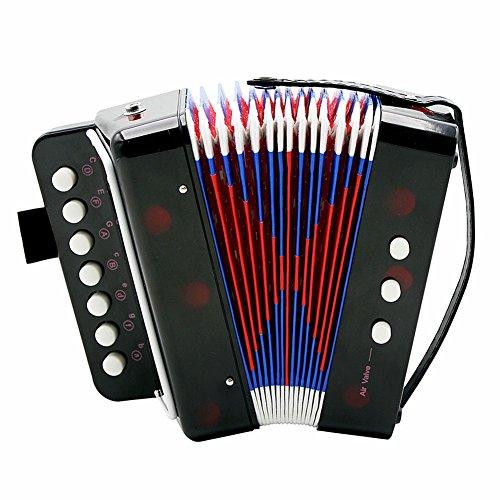 Fdit giocattolo della fisarmonica dei bambini 7-key 2 basso strumento musicale educativo giocattolo di ritmo del regalo di compleanno(black)