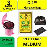 G 1 Garbage Bags Medium Size Black Color 19 X 21 Inch 90 Pieces
