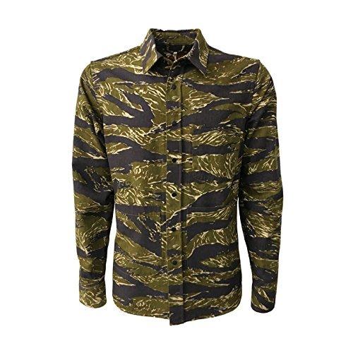ASPESI Giacca Camicia Uomo Verde Militare MOD A CE84 G220 R2 UT-Shirt 100% Cotone (M - IT 48)