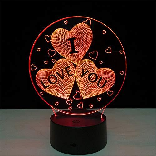 ICH LIEBE DICH Bunte 3D Hologramm Lampe USB Acryl Lichter 3D LED Lampe Nachtlicht für Weihnachten Hochzeitsfeier Liebhaber Geschenk -