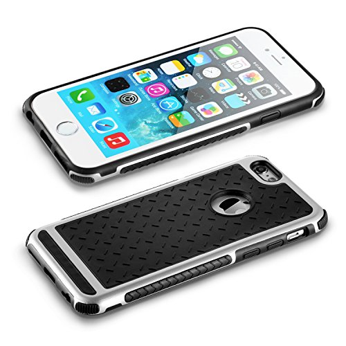 iPhone 6S Hülle technext020 iPhone 6S Fall iPhone 6 Schutzhülle aus Silikon Stoßfänger Slim Soft Schwarz Gold Rückseite bietet ausgezeichnete Griffsicherheit Knight Silver