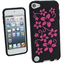 igadgitz Negro & Rosa Flores Silicona Funda Carcasa para Apple iPod Touch 6G 6th Generación (Julio 2015) & 5G 5th Generación (2012-2015) Case Cover + Protector de pantalla