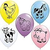 Granja Animales Surtido Qualatex 11pulgadas globos látex (Surtido Colores, 10paquete)