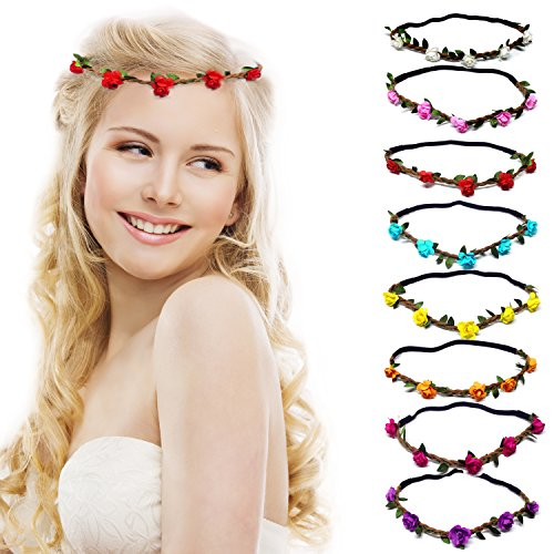 nz mehrfarbig Blume Bohemia Style Kopfschmuck Haarbänder Stirnbänder Floral Girlande für Festival Hochzeit und Party (Blume Stirnbänder Diy)