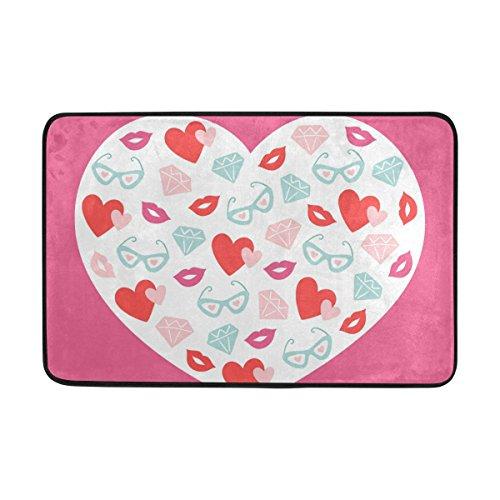JSTEL Herz Kiss Gläser-Fußmatte waschbar Garten Büro Fußmatte, Küche ESS-Living Badezimmer Pet Eintrag Teppiche mit Rutschfeste Unterseite 59,9x 39,9cm