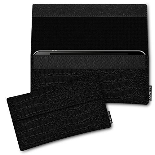 SIMON PIKE Kunstleder Tasche Newyork, kompatibel mit Kazam Trooper X4.0, in 01 schwarz Kroko Kunstleder